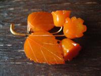 Art Deco Bernstein Honigbernstein Brosche Butterscotch Amber Blatt mit Blüten