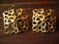 ausgefallene große vintage Manschettenknöpfe gold organische Struktur sehr edel