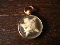 bezauberndes winziges Jugendstil Medallion 2 Seiten Glas echtes Edelweis rotgold