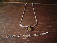 exklusives vintage Designer Schmuckset 925er Silber Ammonit Collier Armband