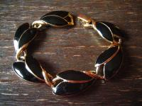 exquisite Vintage Designer Armband Trifari Schwarz Gold 80er Jahre Eighties