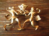 vintage Designer Brosche Musketiere Duell Degen Fechten Modeschmuck 60er Jahre
