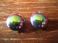 tolle alte Modeschmuck Ohrringe Clips wie Regenbogen Obsidian super schön