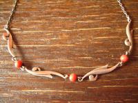 zarte Art Deco Collier Kette 835er Silber echte rote Koralle Kugeln ungefärbt