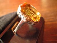 reizender Art Deco Ring mandarin Topas orange 935er Silber signiert RG 54