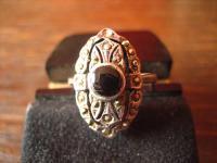 herrlicher Art Deco Onyx Markasit 925er Silber Ring Schiffchenring Rg 17, 2 / 54