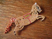 opulente Strass Brosche Pferd Hengst aufsteigend Alt Gablonz Vintage