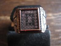 geschmackvoller Herrenring Siegelring 925er Silber gold Zirkonia 21, 6 mm RG 68
