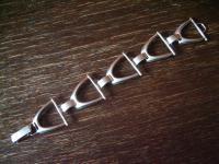 ausgefallenes breites Art Deco Armband Steigbügel 835er Silber Reiter Pferd Pony