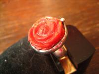 prächtiger Rosen Ring Rose plastisch Steingravur rote Koralle 835er Silber RG 52