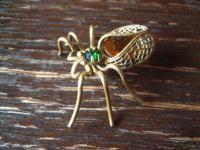 bezaubernde Vintage Strass Brosche Spinne Spinnen Insektenbrosche Alt-Gablonz