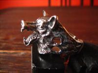 super schöner Ring Wolf Wolfskopf plastisch Edelstahl neu et Nox RG 65 20, 5 mm