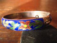 prächtiger vintage Cloisonnée Emaille Armreif mit Blüten 925er Silber Handarbeit