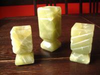 3 Vintage Kerzenständer Kerzenhalter echte schwere Jade 50er Jahre Design Rarität