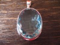 prächtiger Statement Anhänger riesiger Bergkristall aquamarin blau 925er Silber