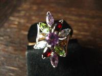 prächtiger vintage Designer Ring Cocktailring 925er Silber Peridot Citrin Topas