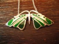 Jugendstil Collier Schmetterling Falter Motte Emaille grün 925er Silber reizend