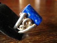 prächtiger schwerer Ring im Art Deco Stil Lapislazuli blau 925er Silber 17, 75 mm