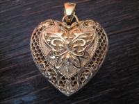 Liebesgrüße aus Italien edler vintage Designer Herz Anhänger 925er Silber gold