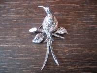 Traum Art Deco Markasit Brosche Paradiesvogel Kolibri 925er Silber TOP Zustand