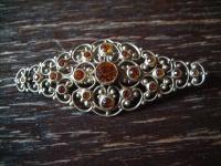 reich verschnörkelte Kristall Brosche im Barock Stil gold antiker Modeschmuck