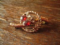 elegante Jugendstil rotgold Schaumgold Brosche mit Almandin Granat und Perlen