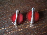 exklusive Art Deco Designer Ohrringe Clips Ohrclips 925er Silber Carneol Achat