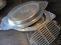 2 er Gallo Servierplatte Servierschüssel Servierschale mit Haube Deckel Alu-Guss