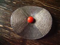 edle Art Deco Designer Brosche 925er Silber Rote Koralle Handmade Coral Brooch