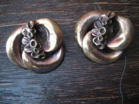 vintage Modernist Designer Blüten Ohrringe Clips Bronze Rotbronze Finnland 60er Jahre