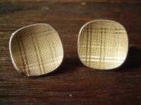 elegante grosse Art Deco Manschettenknöpfe 835er Silber Goldschild Karo Muster