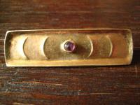 elegante Art Deco Designer Brosche Krawattennadel Silber vergoldet Handarbeit