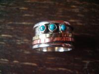 zeitlos eleganter Designer Ring 925er Silber Drehring mit Türkis Spieler RG 64