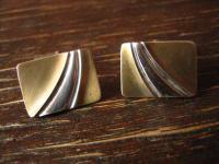 hochelegante Art Deco Manschettenknöpfe 835er Silber teilvergoldet Bicolor Optik