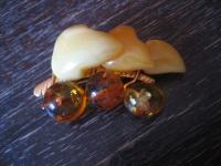 Art Deco Bernstein Brosche Weintrauben Weinlaub Reben egg yolk Amber Brooch gold