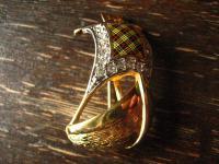 herrliche Vintage Brosche Segelboot Segelschiff gold emaille Burberry signiert
