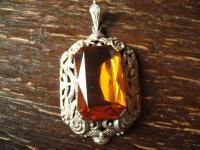 großer Jugendstil Prunk Anhänger 835er Silber auffälliger Stein orange - gelb