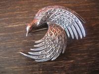herrliche Art Deco Markasit Brosche Paradiesvogel 935er Silber TOP Zustand