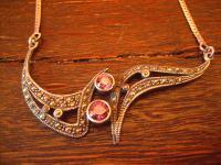 prächtiges Art Deco Collier Kette Markasit Amethyst 925er Silber tolles Design