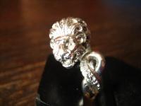 prächtiger Jugendstil Ring Herrenring Löwe Löwenring 800er Silber vollplastisch
