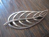 elegante Art Deco Brosche stilisiertes Blatt 835er Silber skandinavisches Design