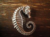 herrlicher großer Seepferdchen Anhänger massiv 925er Silber wie lebensecht