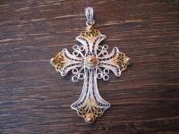 hauchzarter traumhafter Kreuz Anhänger 925er Silber feinste Handarbeit Filigrée