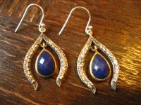 Kronjuwelen gesucht ? Edle Ohrringe Hänger Chandeliers 925er Silber Saphir blau