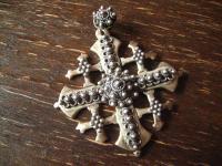 riesiger Kreuz Anhänger Hochzeitsschmuck Solje Skandinavien 900er Silber Rarität