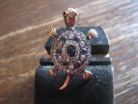 niedlicher Schildkröten Ring 925er Silber gold Saphir Zirkonia Schildkröte RG 51