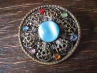 farbenfrohe Vintage Brosche Pâte de Verre Türkis Strass ausgefallen und selten