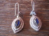 Kronjuwelen gesucht ? elegante saphir blau diamant Ohrringe Hänger 925er Silber