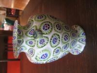 dekorative Millefiori Vase Fratelli Toso Murano um 1900 matt geätzt Muranoglas