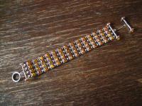 prächtiges Art Deco Bernstein Armband 925er Silber amber bracelet Unikat 2, 5 cm